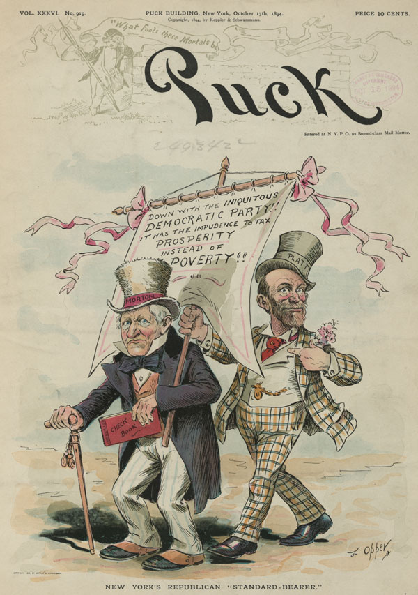 An 1894 chromolithograph mocking the Republican party's propensity to tax the poor more than the rich.