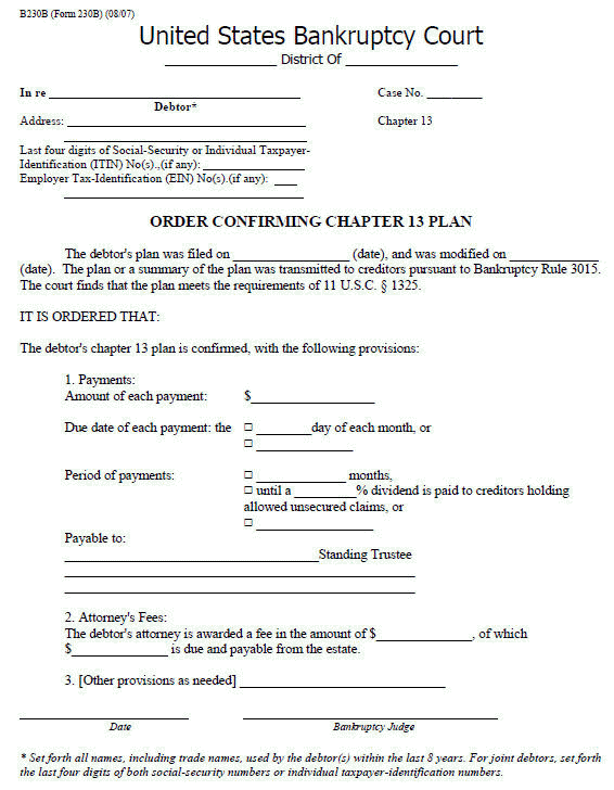 Bankruptcy Form 230B, Order Confirming Chapter 13 Plan.