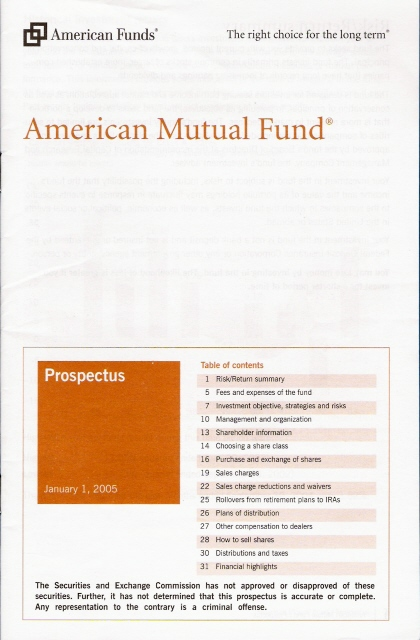 the mutual fund prospectus  summary and statutory prospectus